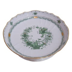 "Herend Hand Painted Porcelain ""Indian Basket"" Green Compotier, Hungary, Modern"