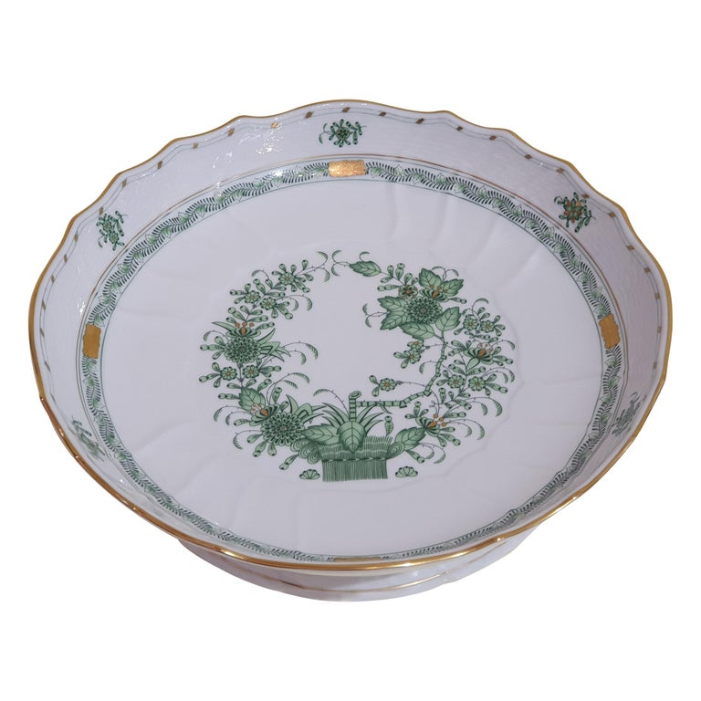 """Herend Hand Painted Porcelain """"Indian Basket"""" Green Compotier, Hungary, Modern For Sale"""