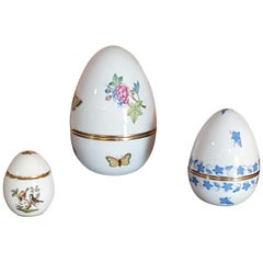 Herend Hand Painted Porcelain Set of Three Egg Boxes, Hungary, 2021, New