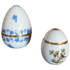 Herend Hand Painted Porcelain Set of Two Egg Boxes, Hungary, 2021, New