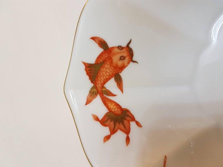 Fine hand painted Herend porcelain flower shaped bowl with nishikigoi (??, [?i?i?ki?goi], literally