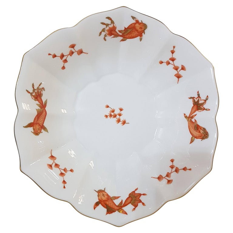 """Herend """"Happy Fish"""" Hand Painted Hungarian Porcelain Bowl, Modern For Sale"""