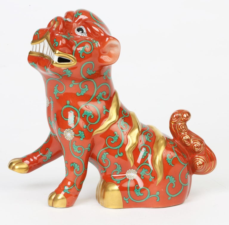 Herend Hungarian Midcentury Porcelain Oriental Godollo Red Painted Foo Dog 6