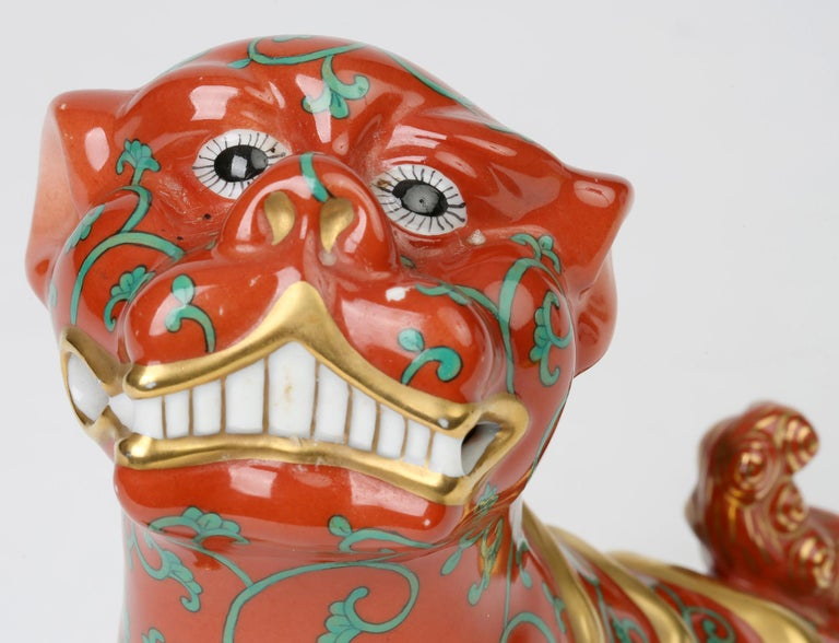 Herend Hungarian Midcentury Porcelain Oriental Godollo Red Painted Foo Dog 7