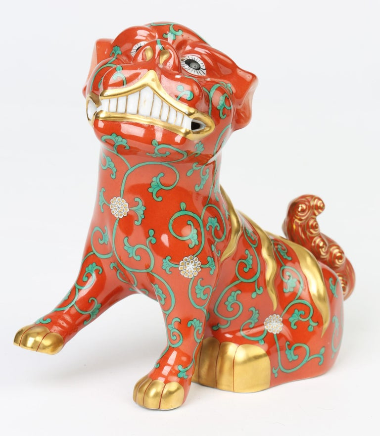 Herend Hungarian Midcentury Porcelain Oriental Godollo Red Painted Foo Dog 8
