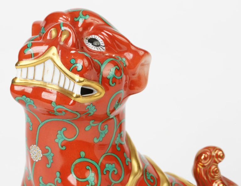 Herend Hungarian Midcentury Porcelain Oriental Godollo Red Painted Foo Dog 9