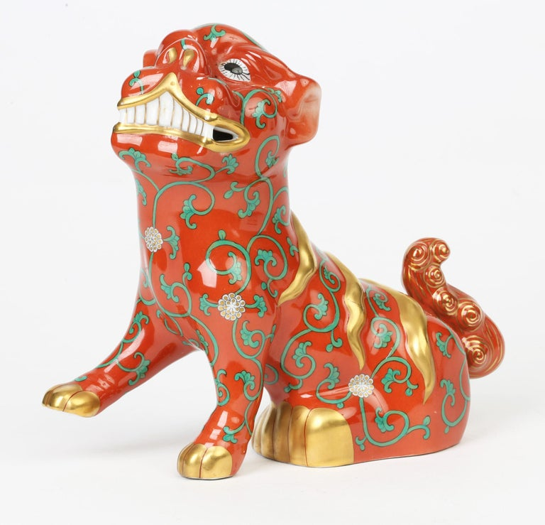 Mid-Century Modern Herend Hungarian Midcentury Porcelain Oriental Godollo Red Painted Foo Dog