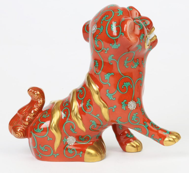 Herend Hungarian Midcentury Porcelain Oriental Godollo Red Painted Foo Dog In Good Condition In Bishop's Stortford, Hertfordshire