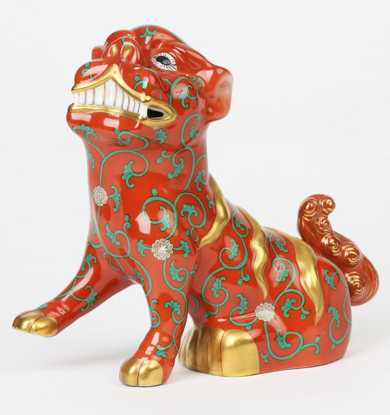Herend Hungarian Midcentury Porcelain Oriental Godollo Red Painted Foo Dog 2