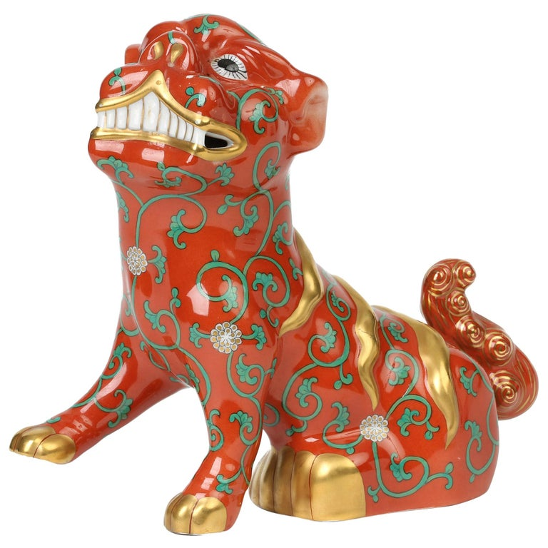 Herend Hungarian Midcentury Porcelain Oriental Godollo Red Painted Foo Dog