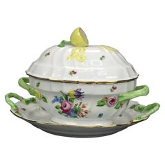 Herend Hungary Hand Painted Porcelain & Gilt Tureen & Liner 20th C
