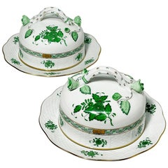 "Herend Hungary Porcelain ""Chinese Bouquet Apponyi Green"" 2 Large Butter Dishes"