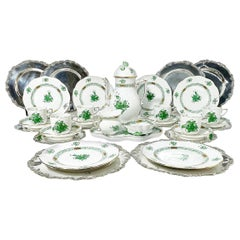 "Herend Hungary Porcelain ""Chinese Bouquet Apponyi Green"" Coffee Set with Silver"