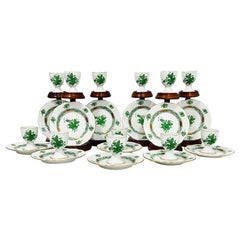 """Herend Hungary Porcelain """"Chinese Bouquet Apponyi Green"""" Egg Cups and Plates"""