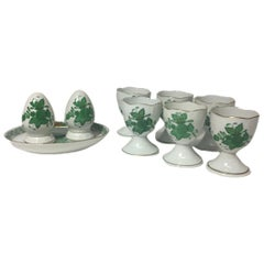 "Herend Hungary Porcelain ""Chinese Bouquet Apponyi Green"" Egg Cups and Shakers"