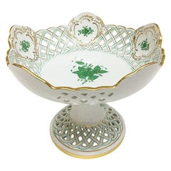"Herend Hungary Porcelain ""Chinese Bouquet Apponyi Green"" Fruit Bowl on Foot"