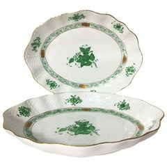 "Herend Hungary Porcelain ""Chinese Bouquet Apponyi Green"" Oval Dishes"