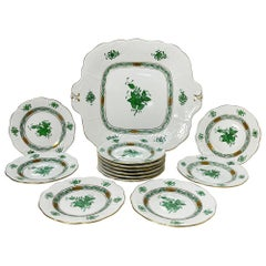 "Herend Hungary Porcelain ""Chinese Bouquet Apponyi Green"" Pastry Set"