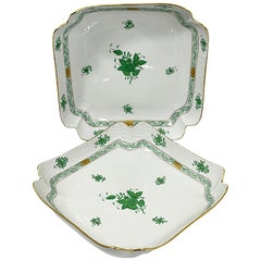 "Herend Hungary Porcelain ""Chinese Bouquet Apponyi Green"" Salad Dishes"