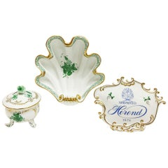 """Herend Hungary Porcelain """"Chinese Bouquet Apponyi Green"""" Set"""