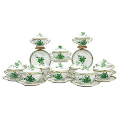 "Herend Hungary Porcelain ""Chinese Bouquet Apponyi Green"" Soup Cups and Saucers"