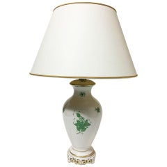 "Herend Hungary Porcelain ""Chinese Bouquet Apponyi Green"" Table Lamp"