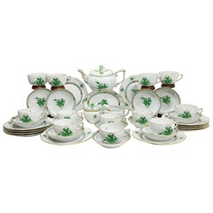 "Herend Hungary Porcelain ""Chinese Bouquet Apponyi Green"" Tea Set for 12 Persons"