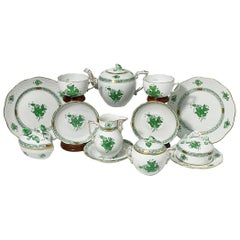 "Herend Hungary Porcelain ""Chinese Bouquet Apponyi Green"" Tea Set"