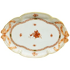 "Herend Hungary Porcelain ""Chinese Bouquet Apponyi Rust"" Ribbon Tray"