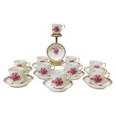 "Herend Hungary Porcelain ""Chinese Bouquet Raspberry"" 10 Cups and Saucers"