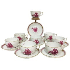 "Herend Hungary Porcelain ""Chinese Bouquet Raspberry"" 8 Tea Cups and Saucers"