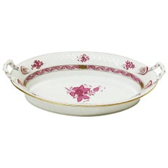 "Herend Hungary Porcelain ""Chinese Bouquet Raspberry"" Bread Basket"