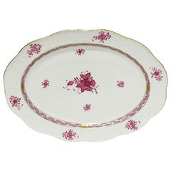 "Herend Hungary Porcelain ""Chinese Bouquet Raspberry"" Oval Dish"