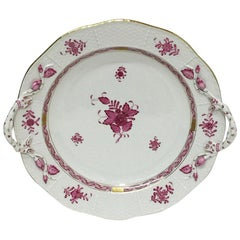 """Herend Hungary Porcelain """"Chinese Bouquet Raspberry"""" Round Dish/Chop Plate"""