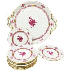 "Herend Hungary Porcelain ""Chinese Bouquet Raspberry"" Round Tray and Small Plates"