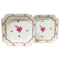 "Herend Hungary Porcelain ""Chinese Bouquet Raspberry"" Square Salad Dishes"
