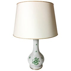 "Herend Hungary Porcelain ""Fortuna Green pattern"" Table Lamp"