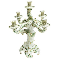 Herend Hungary Porcelain Large Baroque Style Green and Gold Candelabra