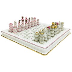 Herend Hungary Porcelain Limited Chess Set 2006 with Board in Blue Case