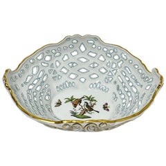 Herend Hungary Porcelain Openwork Basket with Rothschild Pattern