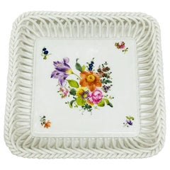 "Herend Hungary Porcelain ""Printemps"" Square Openwork Basket"