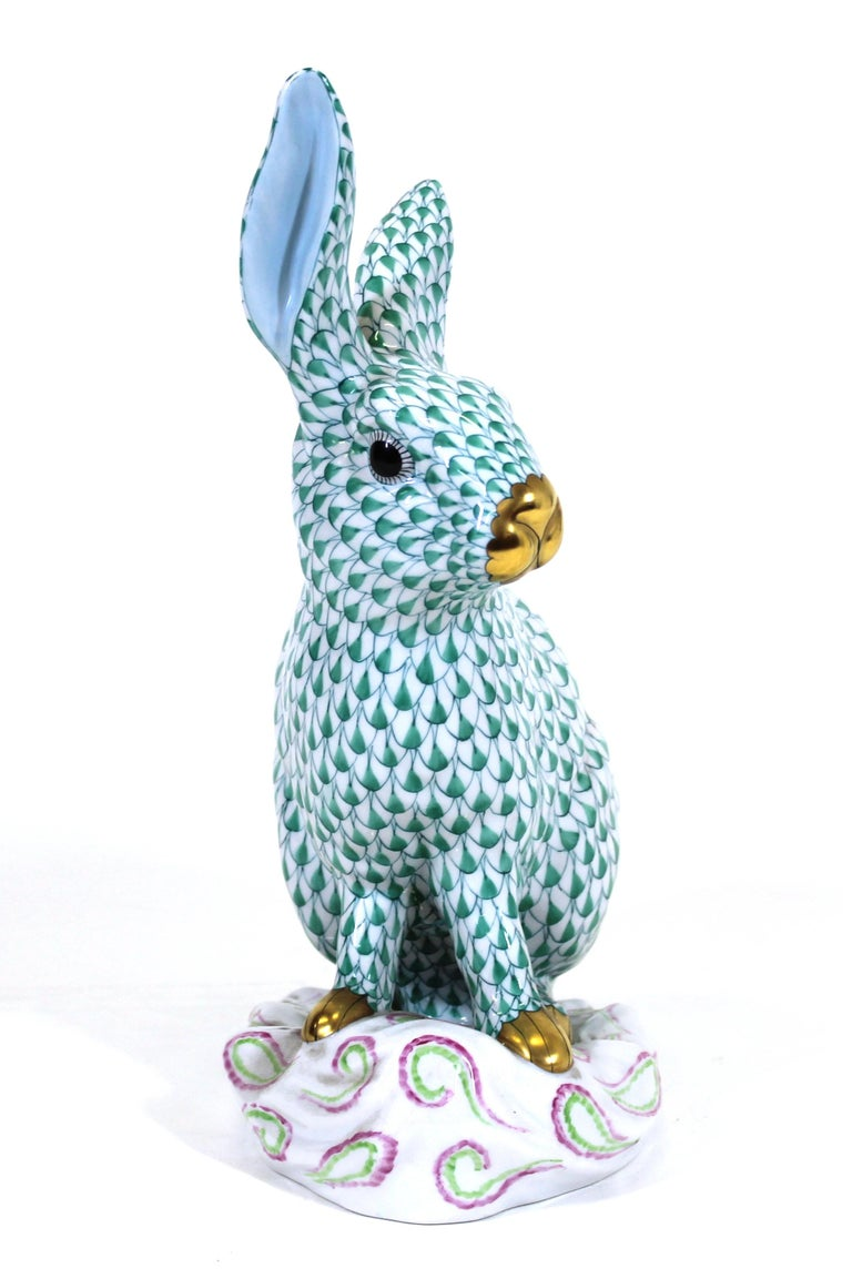 Herend Hungary porcelain rabbit figure hand-painted with green fishnet motif.