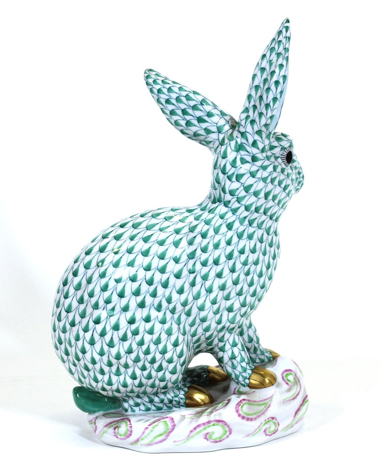 Modern Herend Hungary Porcelain Rabbit Figure For Sale