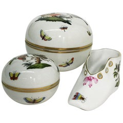 "Herend Hungary Porcelain ""Rothschild"" Round Lidded Boxes and Shoe"