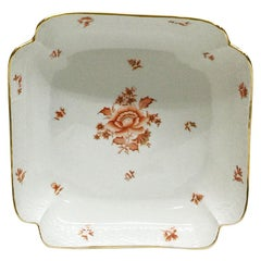 "Herend Hungary Porcelain ""Rust, Fortuna Pattern"" Square Salad Dish"
