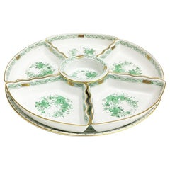 """Herend """"Indian Basket Green"""" Hors d'Oeuvres Set"""