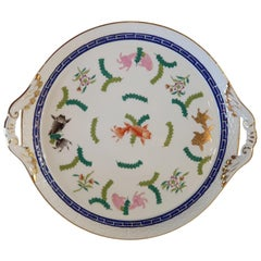 "Herend ""Poisson"" Hand Painted Polychrome Porcelain Cake Plate, Hungary, Modern"