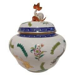 "Herend ""Poisson"" Hand Painted Polychrome Porcelain Potiche, Hungary, Modern"