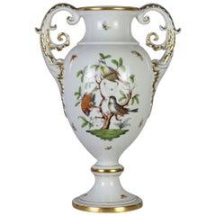 Herend Porcelain Amphora Vase, Rothschild Decor, Hand Painted, Gilded, Hungary