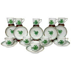 "Herend Porcelain ""Chinese Bouquet Apponyi Green"" 10 Mocha Cups and Saucers"